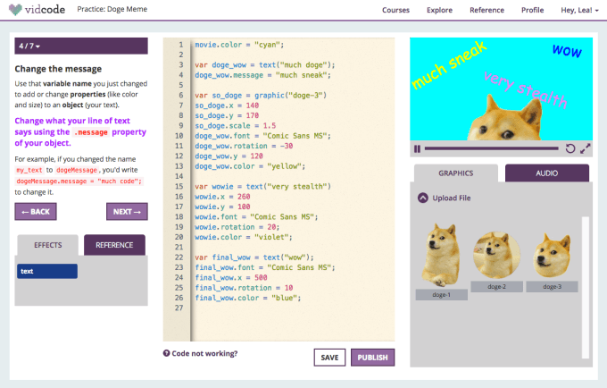 Student using vidcode to create video projects.